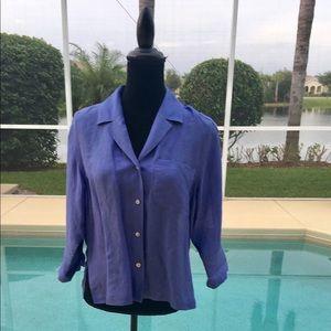 Chicos Women Blouse Size 4-6 Purple Linen Shirt